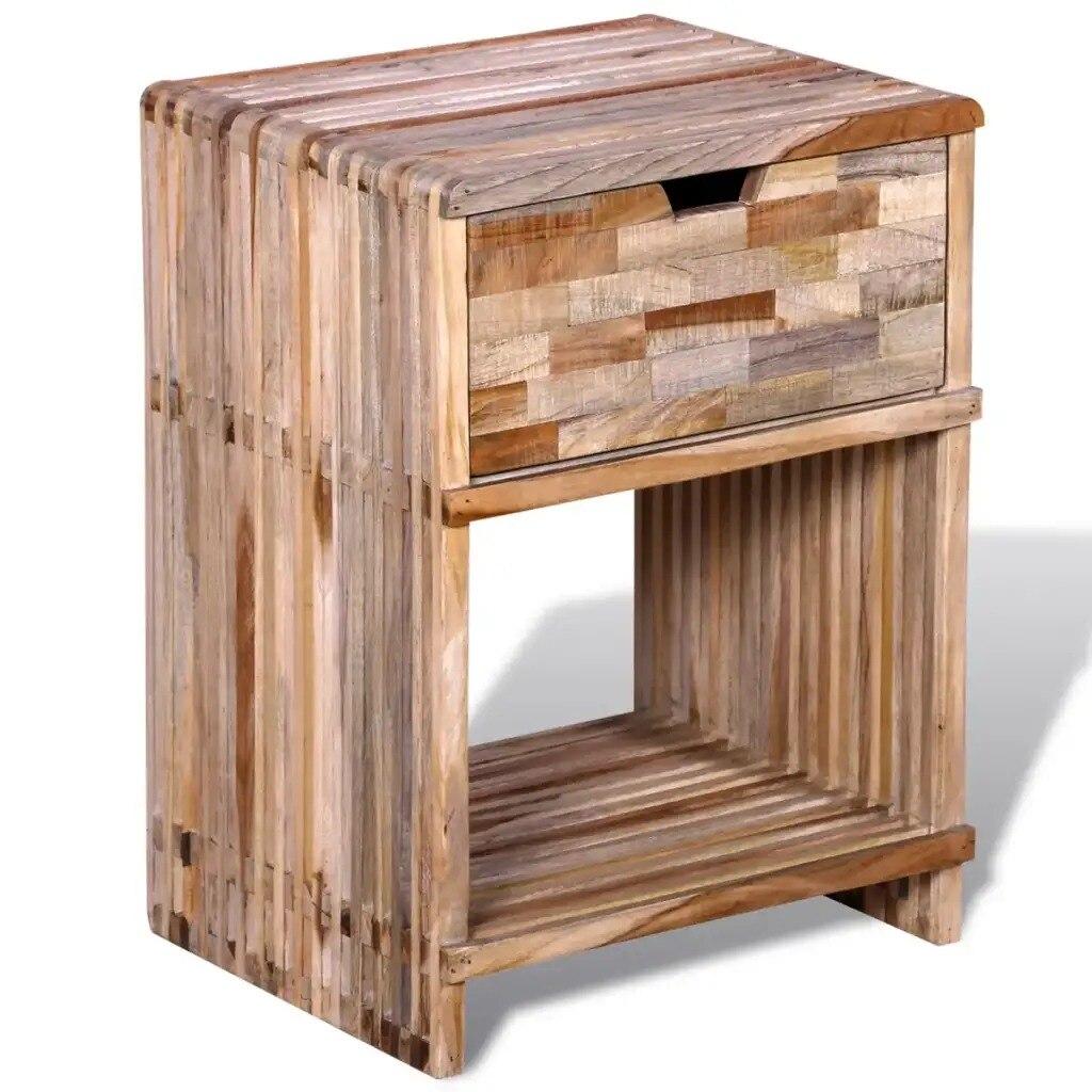 vidaXL Living Room Cabinets Nightstand With Drawer Reclaimed Teak Wood Furniture