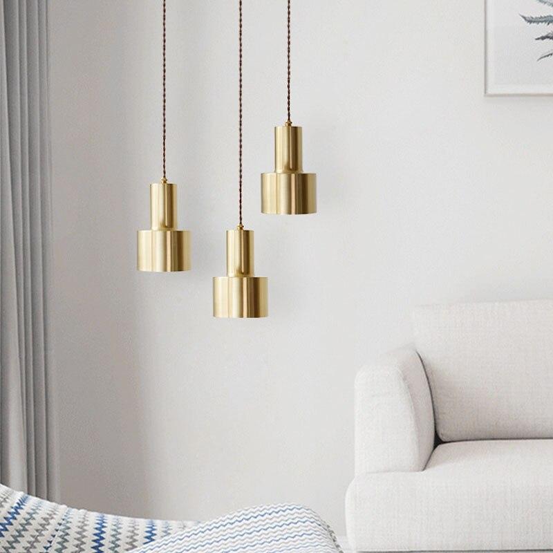 Moderne pendentif lumière créative restaurant bar chambre chevet cuivre petite lampe pendante salle à manger lumières WJ120510
