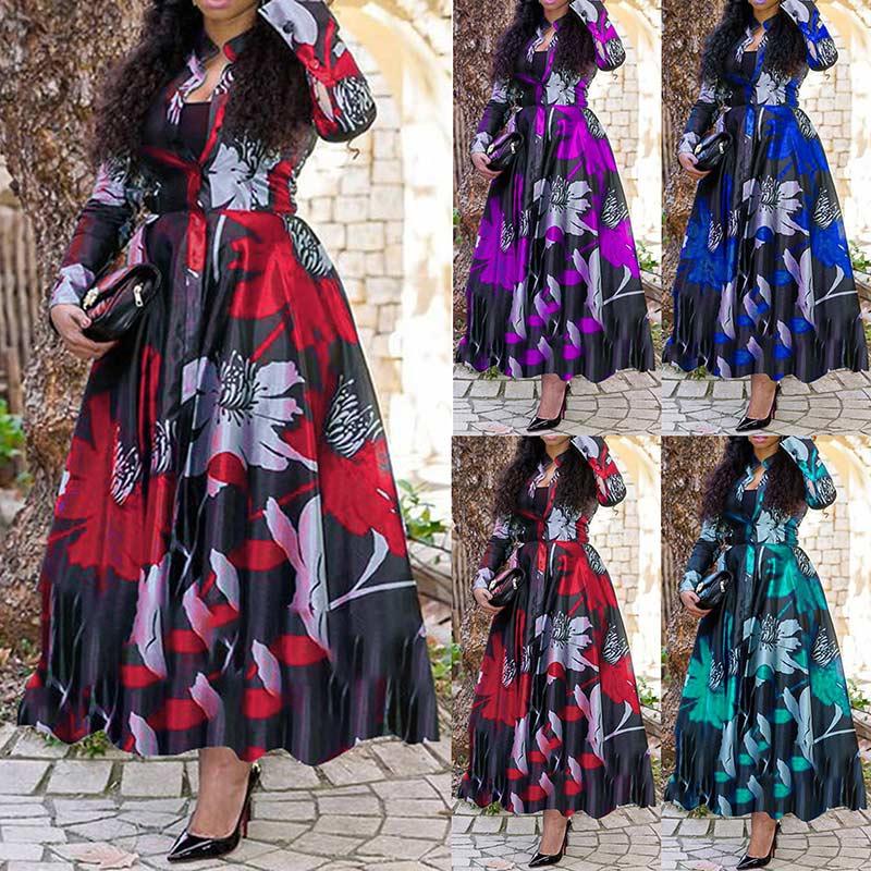 V V Neck Summer Dress Women Vintage Floral Printed Plus Size 4XL Office Maxi Dress Vestidos Elegant Ladies Party Long Dress