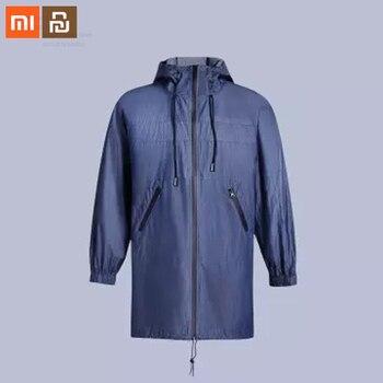 Xiaomi mijia windproof fashion long windbreaker 100% cotton technology windproof breathable men's hooded windbreaker smart home