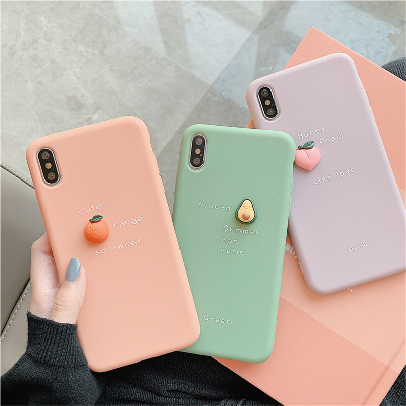 <font><b>3D</b></font> Cute Fruit Phone Cases For X XR XS Max 6 6S 7 8 Plus 5 <font><b>5S</b></font> SE Lovely Soft Silicone Back Cover For <font><b>iPhone</b></font> 11 Pro Max Case <font><b>Funda</b></font> image