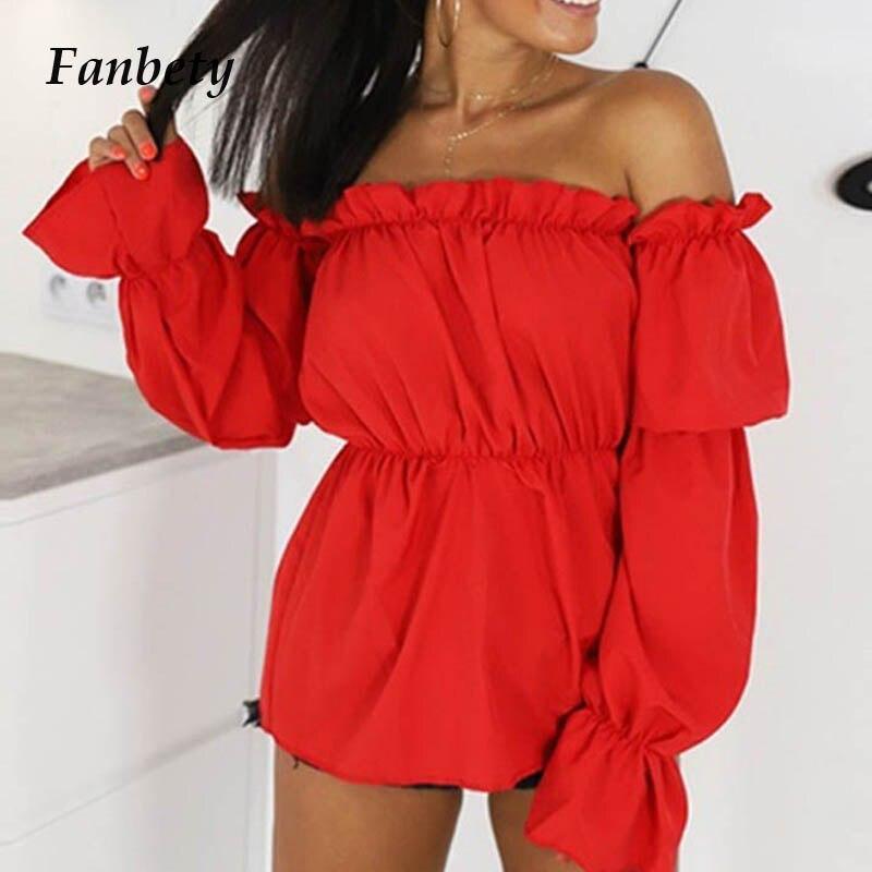 Fanbety Women sexy off Shoulder   blouse   Summer Autumn Long lantern sleeve   shirts   Lady Fashion solid Slash neck Ruffle blusa tops