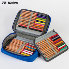 대용량 컬러 연필 케이스 가방 4 레이어 72 구멍 옥스포드 지퍼 스케치 핸드백 연필 상자 학교 용품 아트 편지지