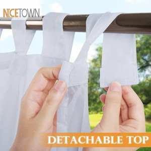 NICETOWN Outdoor Curtain Sticky-Tab-Top Easy-Hanging A-Rope Sheer White Outside Waterproof
