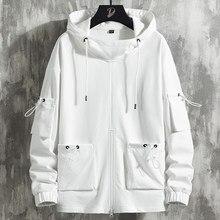 2020 nova primavera bolsos ajustáveis branco oversized hoodie homem streetwear pulôver solto moletom masculino hip hop com capuz topos 5xl