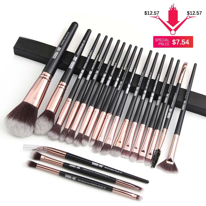 MAANGE Pro 20Pcs Makeup Brushes Set Multifunctional Brush Powder Eyeshadow Make Up Brush With Portable PU Case Beauty Tools