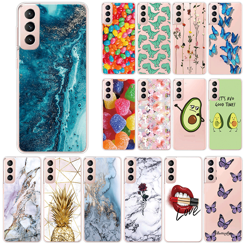 Case For Samsung Galaxy S21 Ultra Plus S 21 S21plus Cases Soft Cute Cartoons Cover Coque Silicone Marble Fundas