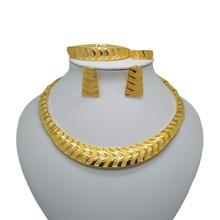 Wholesale Dubai Fine African Beads Jewelry Sets Necklace Bangle Earrings Rings Nigerian Women Wedding Jewelry Sets Big luxury geometric tassel african nigerian wedding jewelry sets dubai indian necklace earrings set bangle ring fashion jewelry
