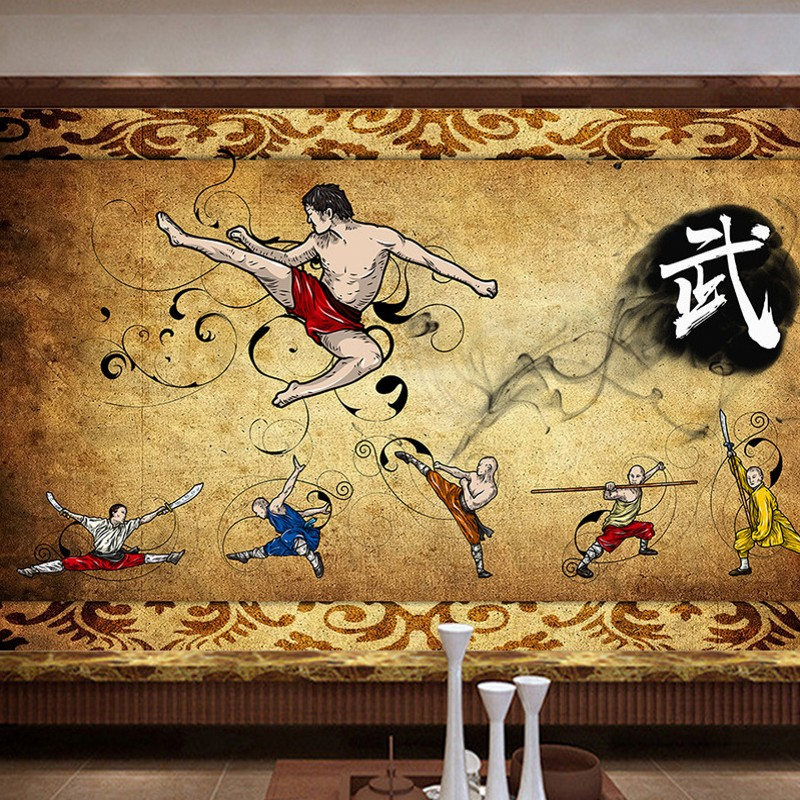 Dropship Dropship Custom Wallpapers Chinese Kung Fu Chinese Wushu Museum Wall Image Wall Wallpapers On The Wall Custom