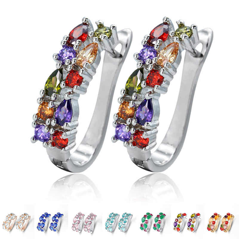 Colorful Crystal Zircon Women Fashion Gold Silver Earring Classic Hoop Earring For Female Trendy Gifts Jewelry