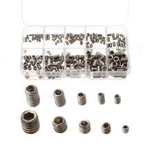 цена на 200Pcs Metric Thread 304 Stainless Steel M3-M8 Hexagon Socket Cup Point Allen Head Key Grub Screws Box Packing