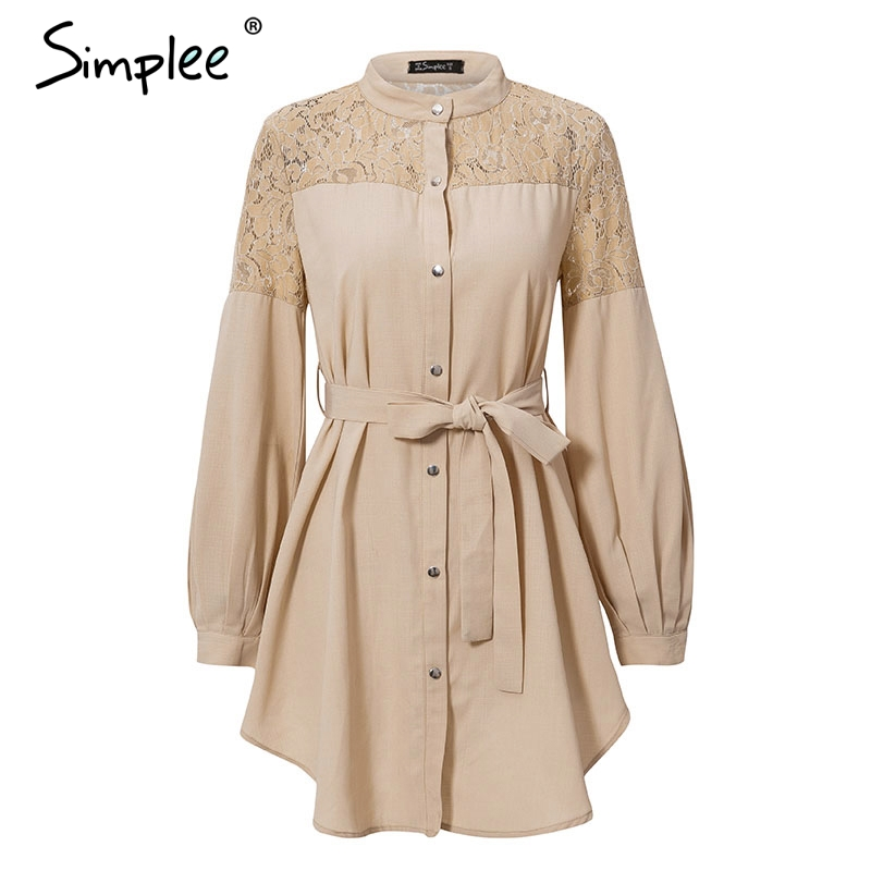 Simplee Elegant lace mesh embroidery women A-line dress Long sleeve button office ladies dresses Solid sashes summer shirt dress 2