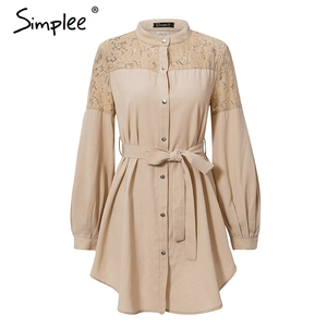 Image 3 - Летнее женское платье рубашка Simplee, элегантное однотонное офисное сетчатое платье трапециевидной формы с вышивкой и поясом, с длинными рукавами, с пуговицами