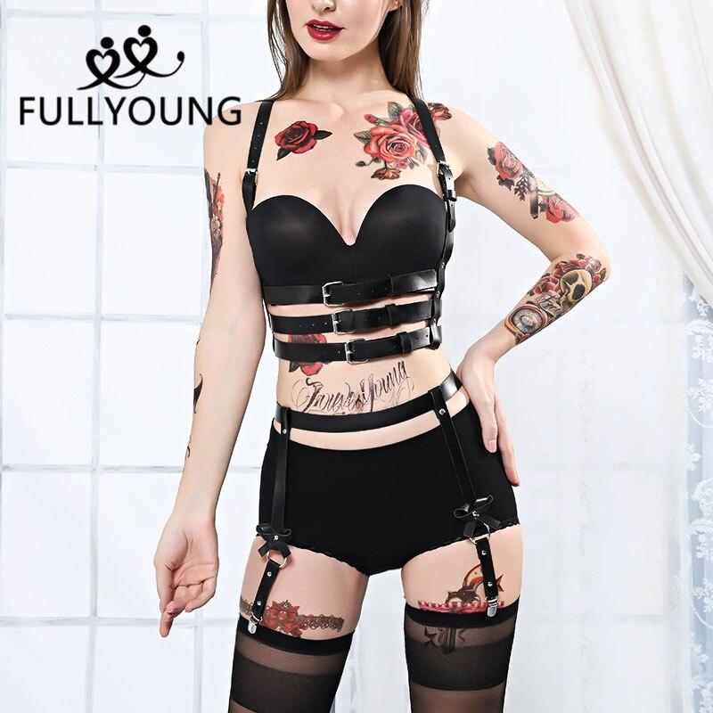 womans garter BDSM leg bondage Garter belt garter belt Body harness Leather leg harness fetish leg garters leather waistband