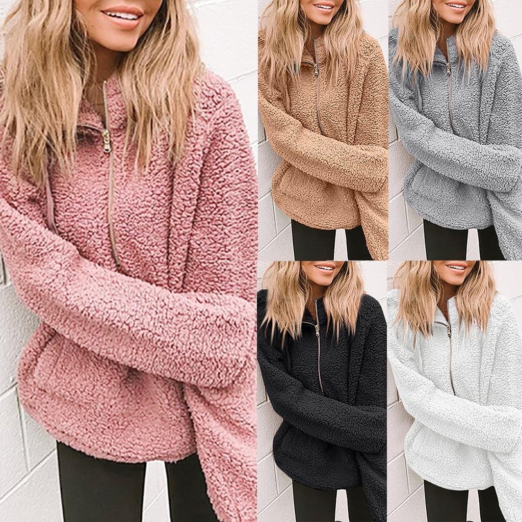 CHAMSGEND Winter Plush Fluffy Coats Women Open Front Faux Fur Warm Jackets Solid Long Sleeve Overcoats Casual Outwear Coats