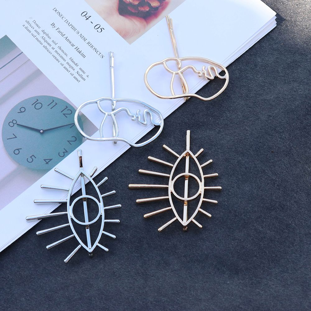 New Chic Alloy Gold Silver Big Eye Face Statement Bobby Pin Hair Pin For Women Girls Hair Clip Hair Accessories