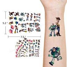 Pegatinas de tatuaje temporal Toy Story para niños, Buzz Lightyear, Disney, Anime, decoración de la piel, Woody, dibujos animados, regalos de Navidad y cumpleaños