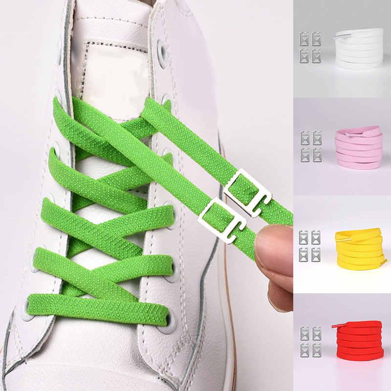 1 زوج 100 سنتيمتر لا التعادل كسول أربطة الحذاء الملونة مرونة المطاط حذاء مسطح الدانتيل الكبار الاطفال بسيطة سريعة أحذية رياضية رباط الحذاء