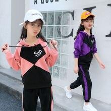 Strój sportowy dla dzieci dla dziewczynek welurowy dres 4 6 8 10 12 lat list z długim rękawem Sweatsuit jesienno zimowy zestaw odzieży dla nastolatków
