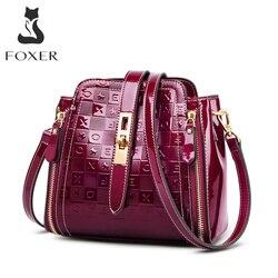 Женская сумка на плечо с буквенным узором FOXER lrstrict, ПВХ, глянцевая, роскошная женская сумка-мессенджер для леди, кошелек на День святого Вале...