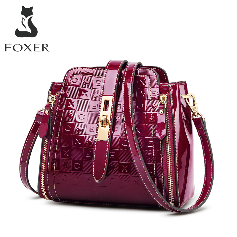 FOXER Lrregular Letter Pattern Women Shoulder Bag PVC Glossy Luxury Female Messenger Bag For Lady Valentine's Day Present Purse