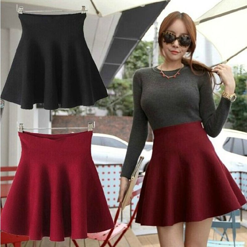 Faldas Mujer Real New Arrival Empire Solid Mid-calf Casual Skirt Ohclothing Bubble Beauty 2020 Hitz Knitted Skirt A A-line Tutu