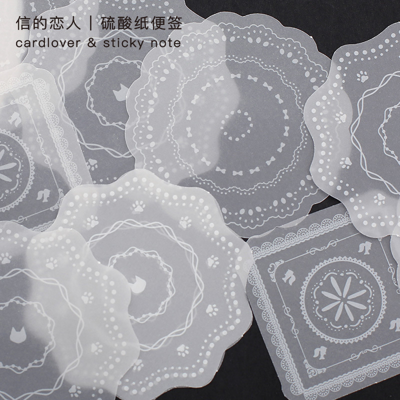 30 Pcs/set Translucent Sulfuric Acid Paper Note Pads Kawaii Cute Various Pattern Shapes Memo Pads Diary DIY Decorative Paper