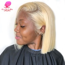 QUEEN BEAUTY 13x1 613 Blonde Brazilian Straight Human Hair Bob Wigs 6 - 18 Inch Remy Short Ombre Bob Lace Wigs for Black Women