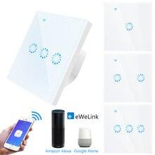 Wifi מגע מתג האיחוד האירופי תקן 1 2 3 כנופיית זכוכית פנל חכם וול אור מתג Ewelink אלחוטי בקרת תמיכה Alexa google בית