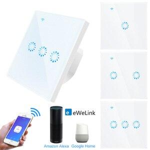 Image 1 - Wifi Touch Switch EU standard 1 2 3 Gang Glass Panel Smart Wall Light Switch Ewelink Wireless Control Support Alexa Google Home