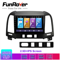 Funrover 2.5D+IPS Car Radio Multimedia 2 din dvd vedio player Android 9.0 Navigation GPS For Hyundai Santa Fe 2005 2012 stereo