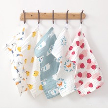 Cotton Printed Long Square Towel Baby Six-layer Pure Combed Cotton Long Gauze Towel Newborn Feeding Baby Washing 120 150cm infant six layer pure cotton printed generous bath towel cotton high density large gauze towel newborn feeding towel