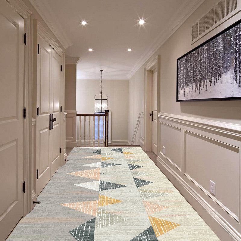 Nordic Corridor Carpet Long Hallway Area Rug Geometric Living Room Carpet Soft Bedside Floor Bathroom Mat Kitchen Aisle Rugs
