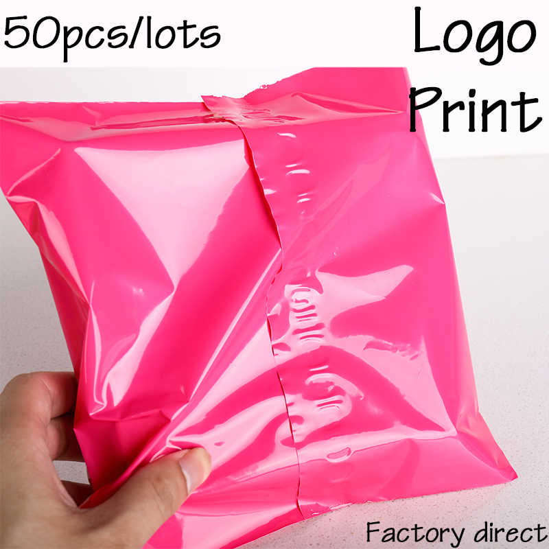 50Pcs print Courier Bags Pink Self-Seal Adhesive Storage Bag Plastic Poly Envelope Mailer Postal Mailing Bags Customizing logo