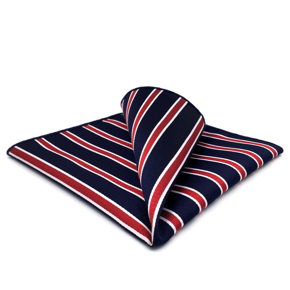 GH04 Blue Red Striped Mens Pocket Square Silk Classic Handkerchief Wedding Accessory Hanky Party