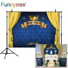 Funnytree Baby Shower książę fotografia tło chłopiec kurtyna niebieska korona Banner urodziny tło Photophone Photo Photozone
