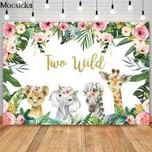 Mocsicka Girl Two Wild Backdrop Jungle Safari Animals 2nd Birthday Photography Background Cake Dessert Table Decor Banner