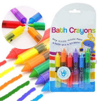 Bath Time Toy Crayons - Multi-Coloured, Pack of 6 Bathing Toy Kids Pen Set tings crunchy corn sticks 6 ounce bags pack of 12