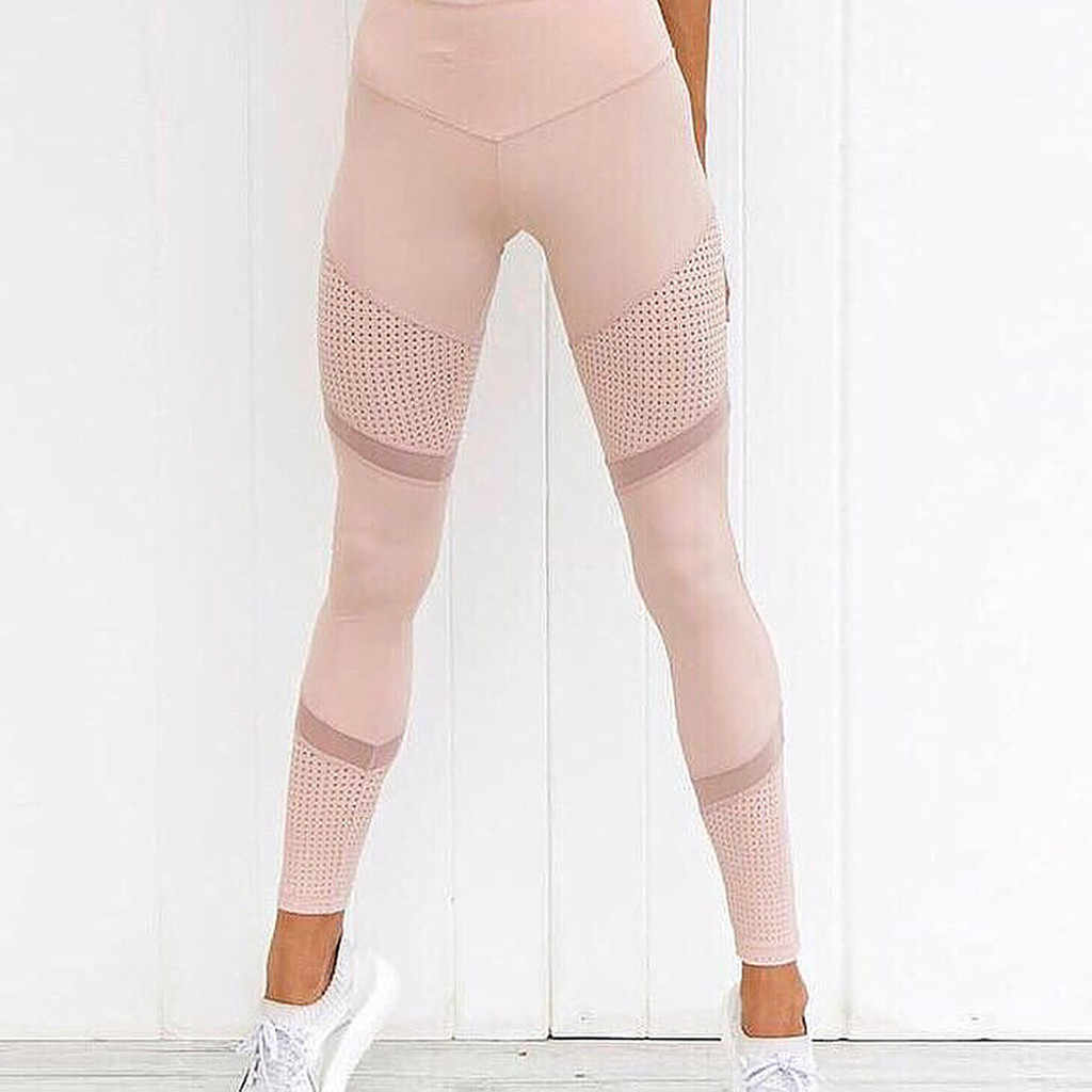 Solid Tinggi Pinggang Wanita Jantung Latihan Yoga Celana Mesh Kulit Leggins Femme Bernapas Membentang Celana Olahraga Memakai 30