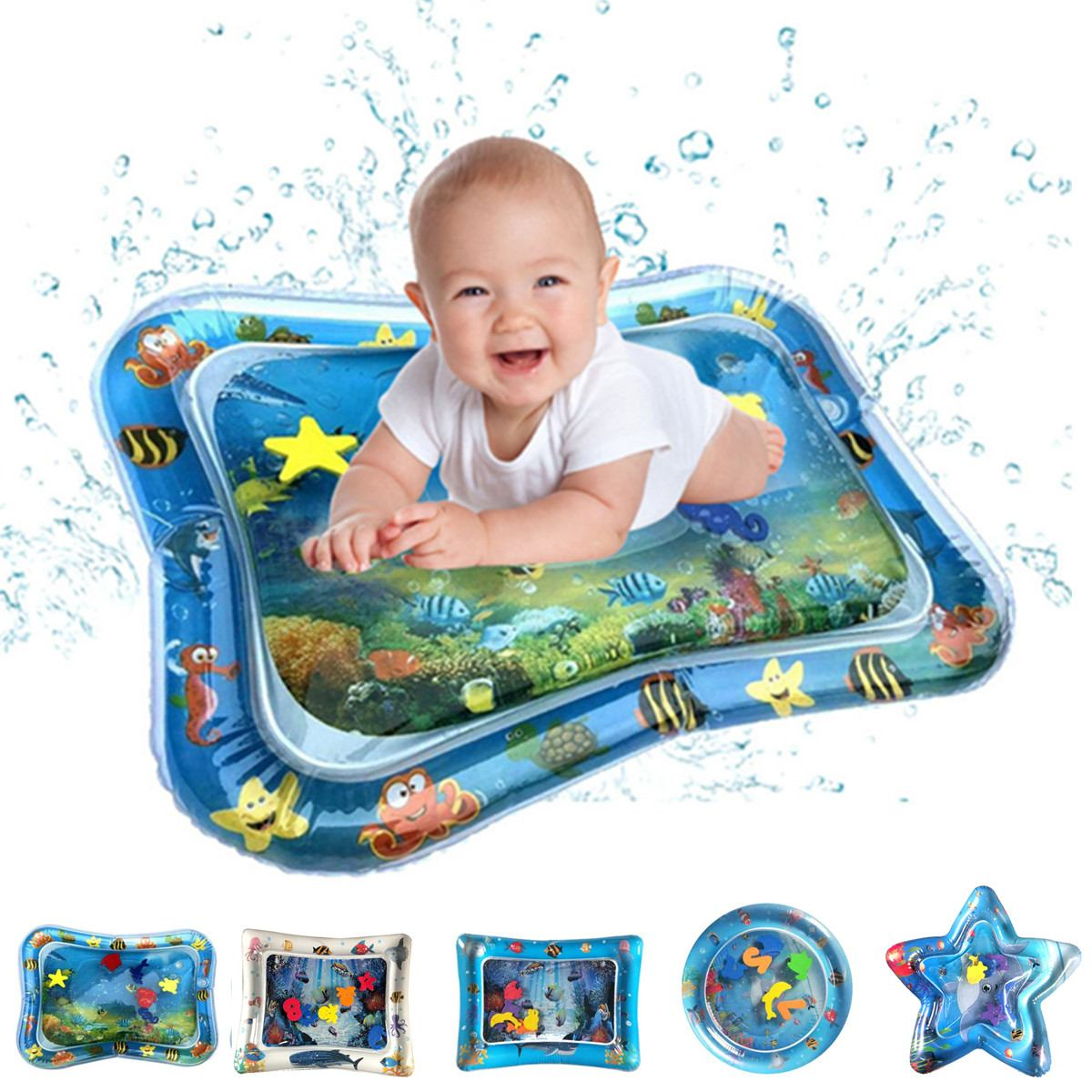 Baby Inflatable Water Play Mat Infant Summer Beach Water Mat Toddler Fun Activity Play Toy For Sensory Stimulation Motor Skills