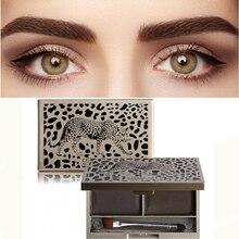 Палитра для макияжа бровей леопардовой расцветки, 2 цвета, водостойкие натуральные коричневые тени для век, косметический набор с кисточкой...