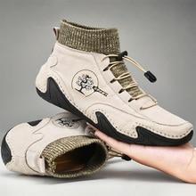 2021 Men Winter Boots Fashion Leather Boots Men Autumn Winter  Snow Casual Shoes Men Outdoor Light Ankle Antislip Warm Zapatos