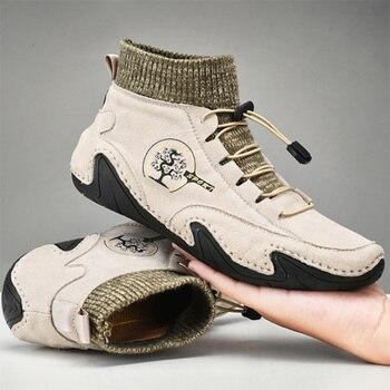 Botas de cuero de moda para hombre, Zapatos masculinos informales, antideslizantes, cálidos,...