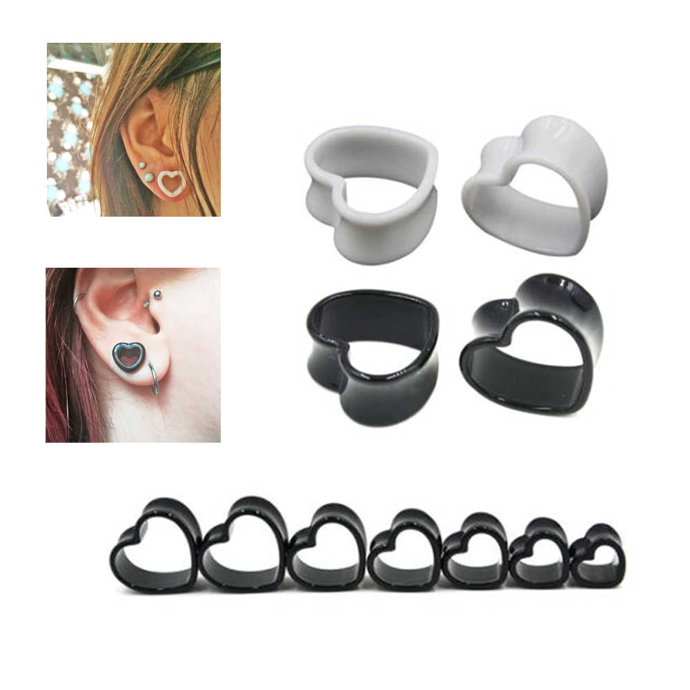 Pair 3mm - 25mm Black and White Love Heart Acrylic Meat Tunnel Plug Jewelry Body Piercing Extender Ear Gauge Earlets