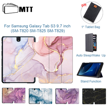 for samsung galaxy tab s3 9 7 slim folding cover case for samsung galaxy tab s3 9 7 inch 2017 version tablet sm t820 t825 MTT Marble Texture PU Leather Case For Samsung Galaxy Tab S3 9.7 inch SM-T820 SM-T825 SM-T829  Fold Flip Stand Cover Tablet Case