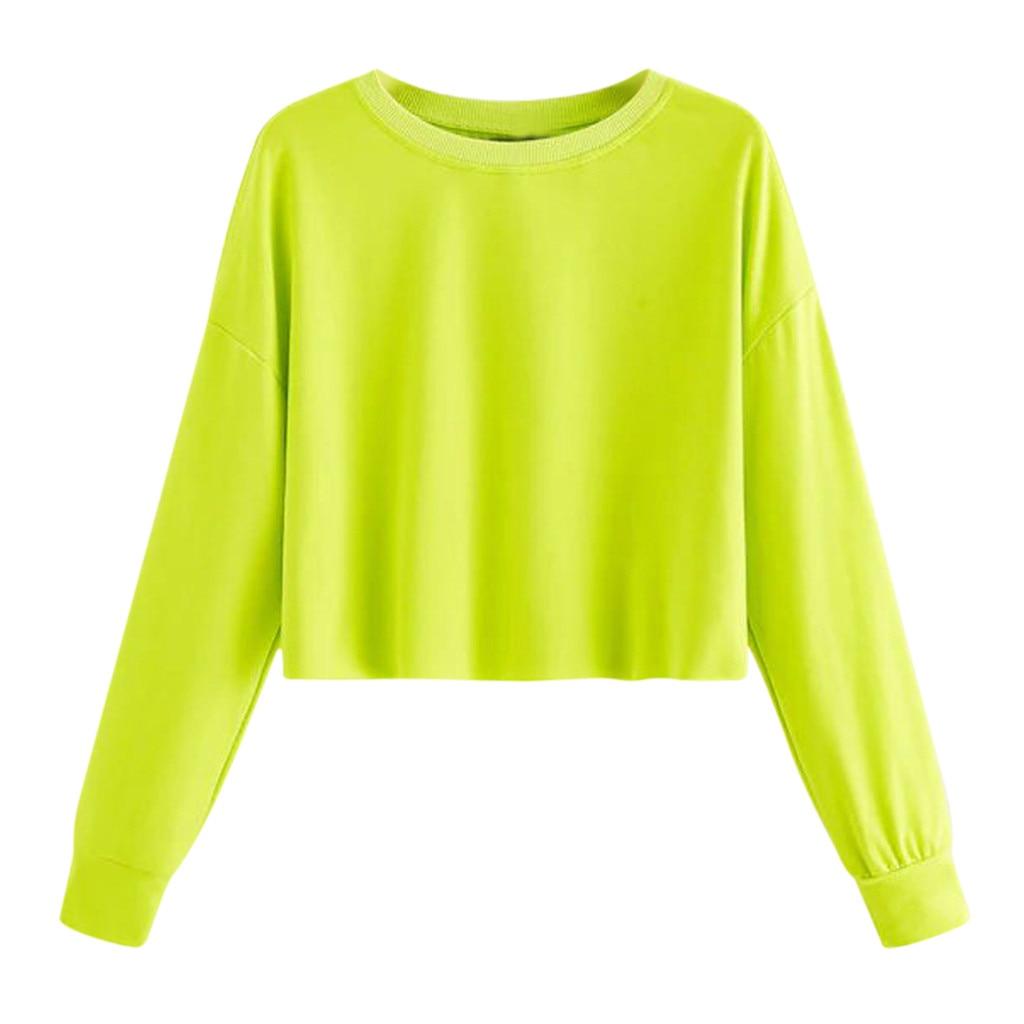 Fashion Crop Top Hoodie Women Casual Neon Green Sweatshirt O-neck Solid Long Sleeve Oversize Sweatershirt Harajuku Tops Hoodie