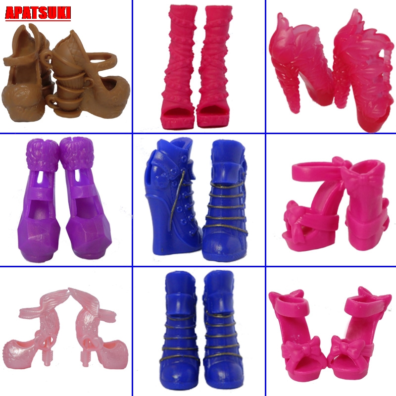 5pairs/lots Mix Style Doll Shoes For Monster High Dolls High Heel Shoes Sandals For 1/6 Monster Dolls Accessories Kids Toys