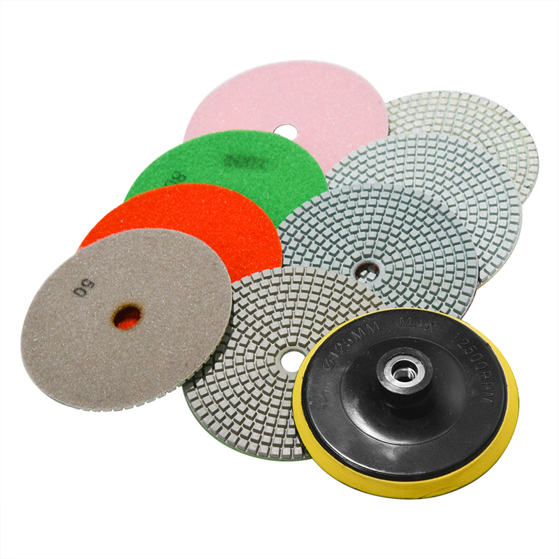9Pcs/Set 5 Inch Diamond Polishing Pad Set Granite Marble Concrete Stone Tile Wet Dry For Granite Concrete Marble Stone Tiles