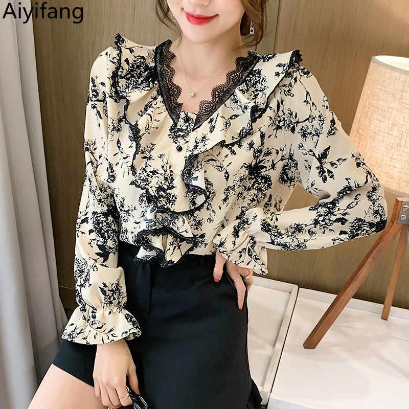Femmes Élégant Mode imprimé floral Tops Revers Manches longues Slim Chemisier Shirts