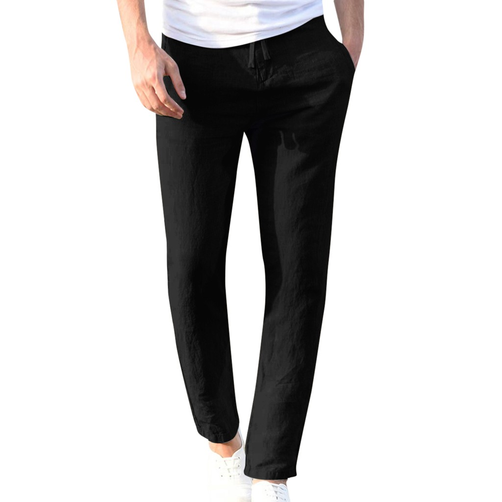 H71374a222d02487b87c95e63afee0833O Feitong Fashion Cotton Linen Pants Men Casual Work Solid White Elastic Waist Streetwear Long Pants Trousers